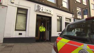 Officer stands outside Faces on Bridge Street, Northampton