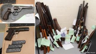 Some of the guns that were handed in
