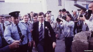Peter Robinson appearing at Ballybay courthouse