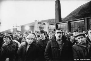 Miners at a rally in Maerdy in March 1985