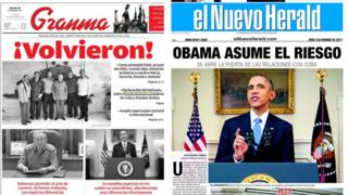 Cuban newspaper front pages
