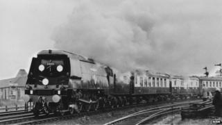 Funeral train of Sir Winston Churchill passing Staines