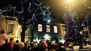 The Christmas tree at the switch-on ceremony in Bodmin