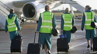 Aer Lingus staff heading to plane
