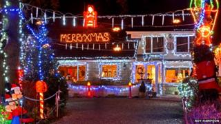 The Featherstone house's Christmas lights display