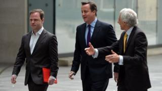 (left to right) Craig Oliver with David Cameron and Barney Jones