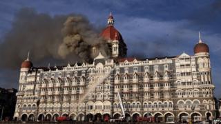 Fire continues at the Taj Mahal Palace Hotel during the terrorist attacks in Mumbai - 27 November 2008