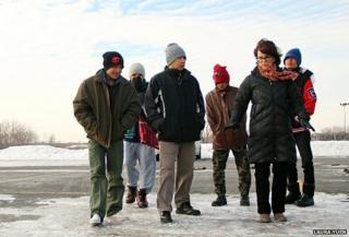 Walking on ice in Minnesota