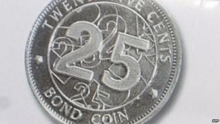 A poster showing the new 25 cent bond coin in Zimbabwe