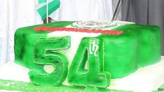A cake make to celebrate Nigeria's 54 years of independence - 1 October 2014