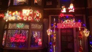 Christmas decorations on house