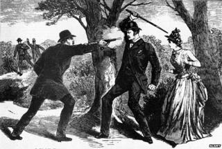 Man shooting at another man