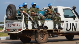 UN peacekeepers secure a section of the airport in Juba, South Sudan, on 12 August 2014