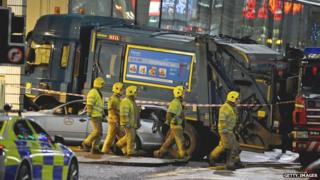 Bin lorry after crash in George Square Glasgow