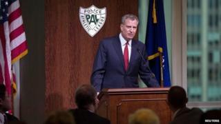 New York City Mayor Bill de Blasio speaks during the Police Athletic League December Luncheon in Manhattan, New York, December 22, 2014