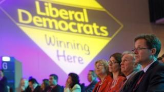 Nick Clegg (far right) at the Lib Dem autumn party conference