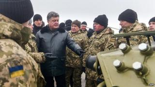 President Petro Poroshenko with troops in Chuguiv, Kharkiv region. 6 Dec 2014