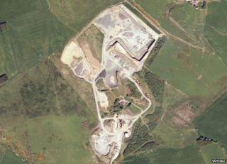 Aerial view of Divet Hill Quarry