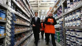 Ed Miliband visiting a B&Q store in Great Yarmouth