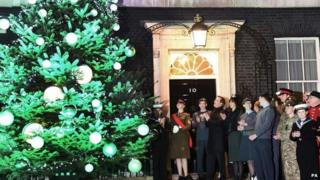 David Cameron at the lighting of the Downing Street Christmas tree earlier this month