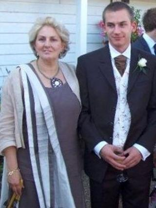 Valerie Graves with her son Tim at her daughter Jemima's wedding