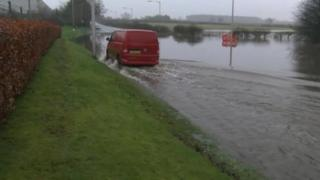 Flooded road near Carlisle