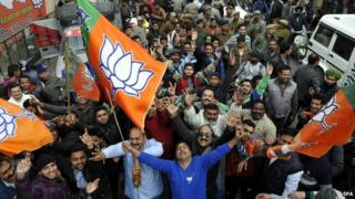The ruling BJP has drastically improved its tally in Indian-administered Kashmir state elections, papers say