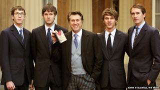 Bryan Ferry with his sons (L to R) Merlin, Isaac, Tara and Otis