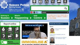 Screen grab of the Sussex Police website