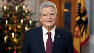 German President Joachim Gauck poses after the recording of the traditional Christmas message at Bellevue Palace in Berlin on 22 December 2014