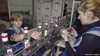 Employees of the 'Fayur-Soyuz' vodka distillery in Beslan on 28 September 2007