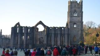 Walkers at Fountains Abbey 2013
