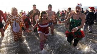 Christmas Day swim in Bournemouth