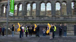 Members of the PCS union outside the National Museum on Boxing Day