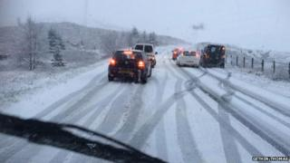Difficult driving conditions over the Crimea Pass near Blaenau Ffestiniog