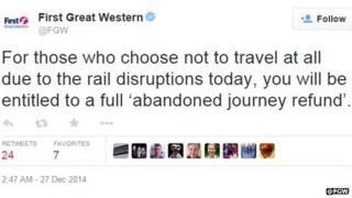 First Great Western tweet