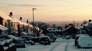 View of snow in Sheffield, from Crookes