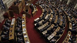 An overhead view of the Greek parliament