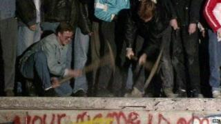 Fall on the Berlin Wall in 1989