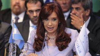Cristina Fernandez de Kirchner participates at the 47th Mercosur summit on 17 December 2014.