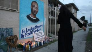 Memorial in LA to Ezell Ford