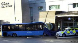 The scene of the crash at Lisburn bus centre