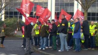 Barbour staff on strike in December 2014