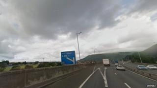 M4 motorway at Junction 40, Port Talbot