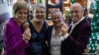 Nicola Sturgeon, Susan and Gerrie Douglas Scott and Patrick Harvie