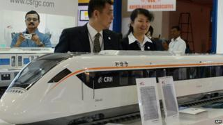 CRH train models on the stand of CNR during an exhibition