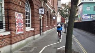 Cycle lane in Nelson Street, Bristol