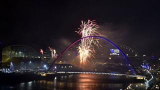 New Year's Eve firework display over the River Tyne