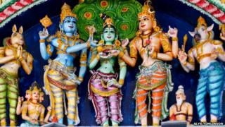 Statues of Hindu gods in Highgate Hill Murugan Hindu Temple, London