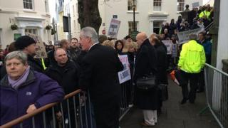 Protest against width and emissions tax before the Guernsey States meeting in December